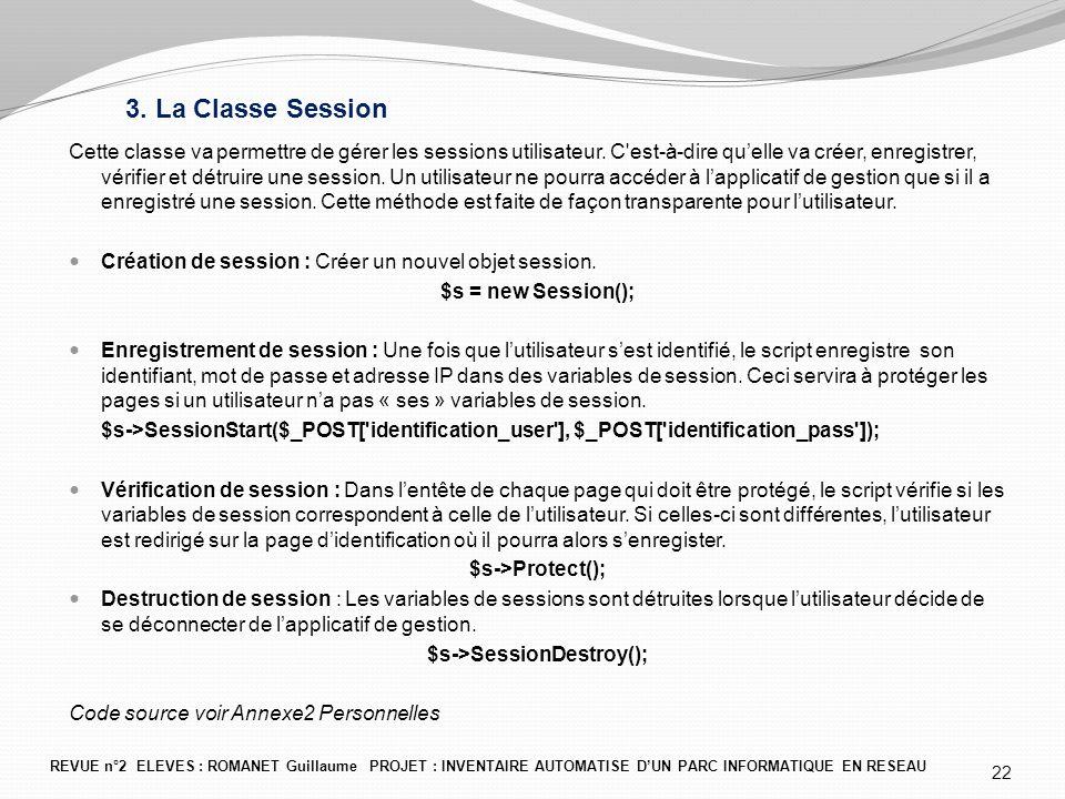 3. La Classe Session Cette classe va permettre de gérer les sessions utilisateur. C'est-à-dire qu'elle va créer, enregistrer, vérifier et détruire une