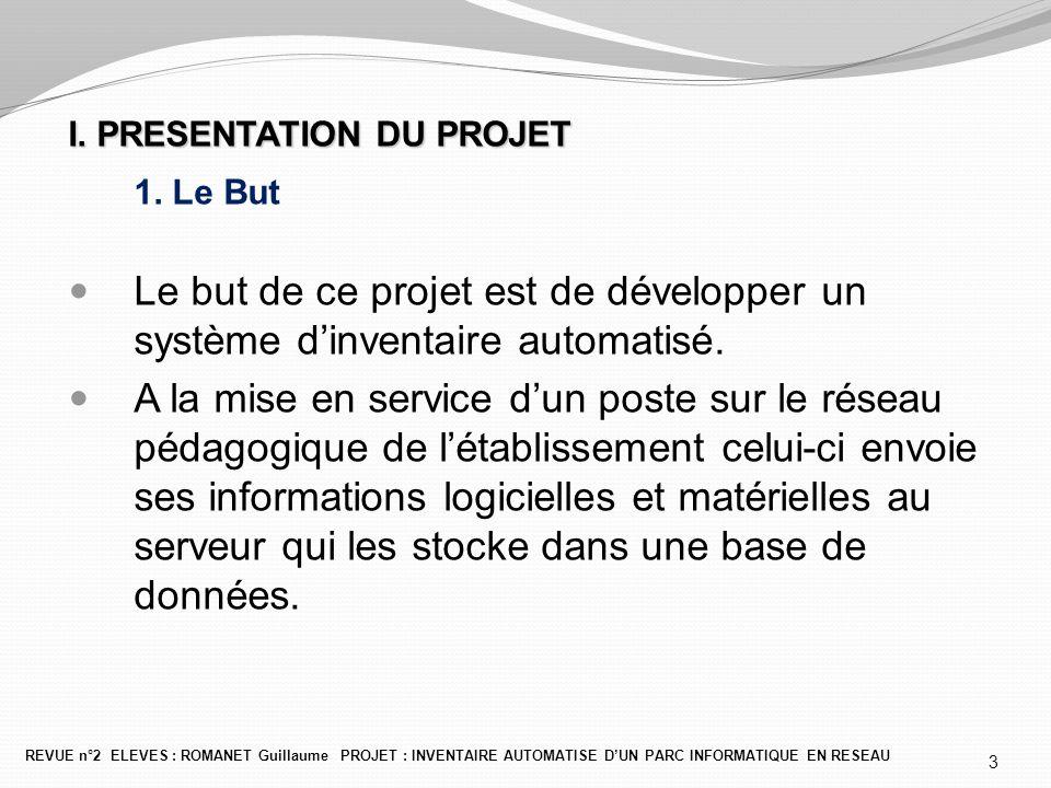 I. PRESENTATION DU PROJET 1. Le But Le but de ce projet est de développer un système d'inventaire automatisé. A la mise en service d'un poste sur le r