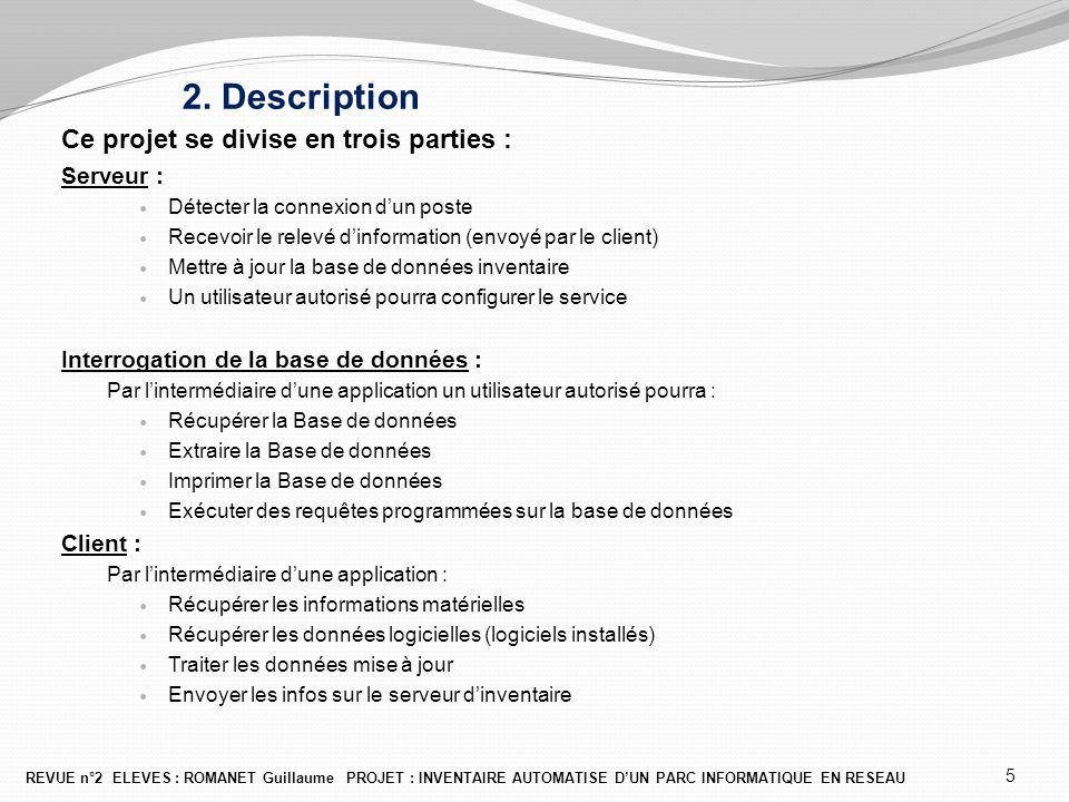 2. Description Ce projet se divise en trois parties : Serveur : Détecter la connexion d'un poste Recevoir le relevé d'information (envoyé par le clien