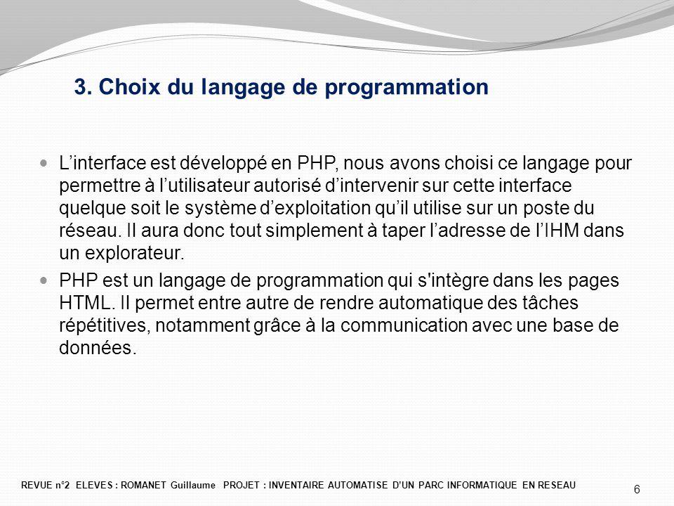 3. Choix du langage de programmation L'interface est développé en PHP, nous avons choisi ce langage pour permettre à l'utilisateur autorisé d'interven
