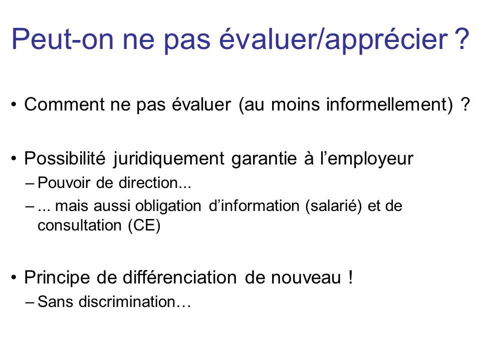 Le droit du travail français est très protecteur des salariés (même si sur certains sujets, la jurisprudence est très hésitante) Pas un parti-pris « anti-patron », mais une volonté de compenser une relation asymétrique Éviter un possible arbitraire de l'employeur –Différencier: ok / Discriminer: pas bien –La question de la preuve: il faut fonder ses décisions .