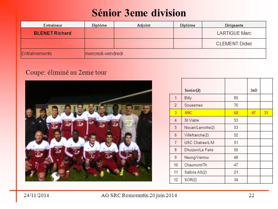 24/11/2014AG SRC Romorantin 20 juin 2014 Sénior 3eme division Coupe: éliminé au 2eme tour 22 EntraîneurDiplômeAdjointDiplômeDirigeants BLENET Richard