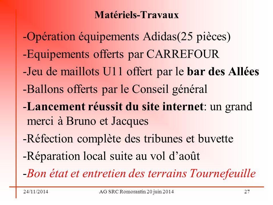 24/11/2014AG SRC Romorantin 20 juin 2014 Matériels-Travaux -Opération équipements Adidas(25 pièces) -Equipements offerts par CARREFOUR -Jeu de maillot