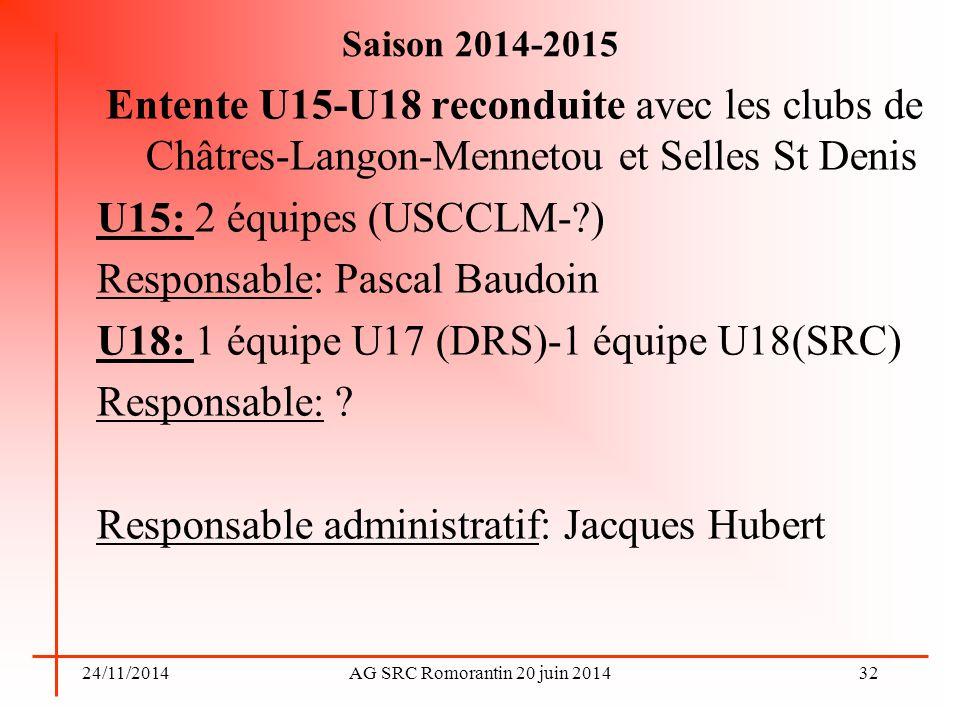24/11/2014AG SRC Romorantin 20 juin 2014 Saison 2014-2015 Entente U15-U18 reconduite avec les clubs de Châtres-Langon-Mennetou et Selles St Denis U15: