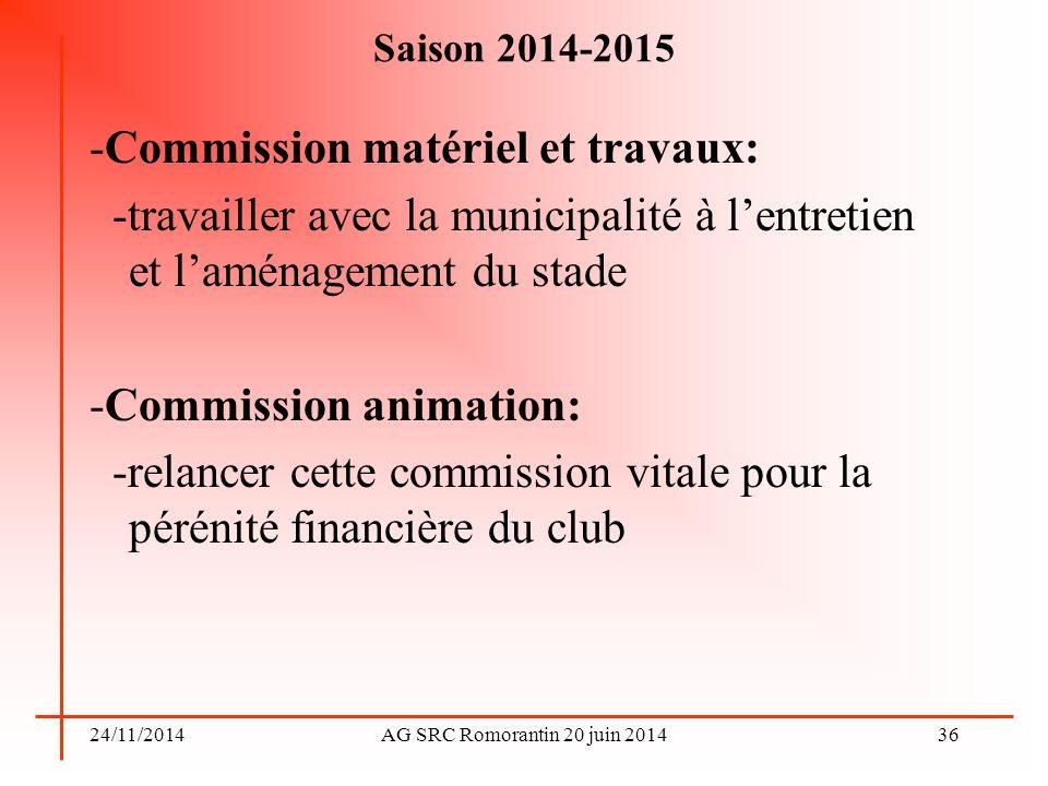 24/11/2014AG SRC Romorantin 20 juin 2014 Saison 2014-2015 -Commission matériel et travaux: -travailler avec la municipalité à l'entretien et l'aménage