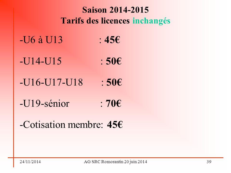 24/11/2014AG SRC Romorantin 20 juin 2014 Saison 2014-2015 Tarifs des licences inchangés -U6 à U13 : 45€ -U14-U15 : 50€ -U16-U17-U18 : 50€ -U19-sénior