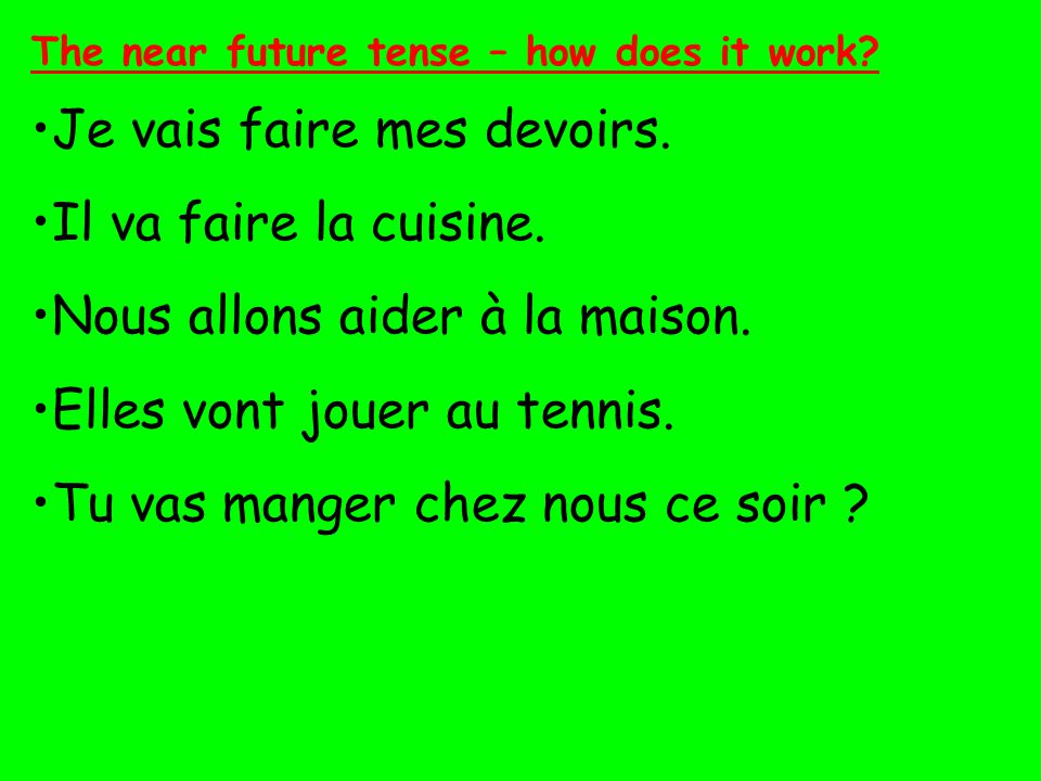 Le futur proche (The near future) This form of the future tense is called the simple or the 'close' (proche) future tense, because it describes what is going to happen, and there are no exceptions to any of the rules below.