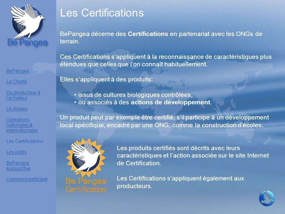 Les Certifications BePangea décerne des Certifications en partenariat avec les ONGs de terrain. Ces Certifications s'appliquent à la reconnaissance de
