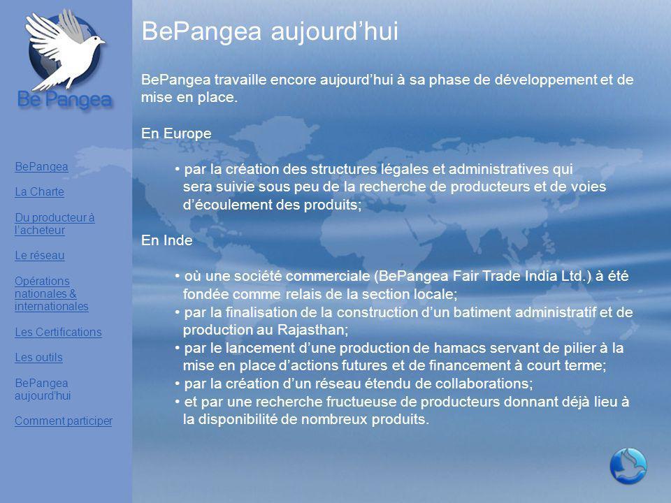BePangea aujourd'hui BePangea travaille encore aujourd'hui à sa phase de développement et de mise en place. En Europe par la création des structures l