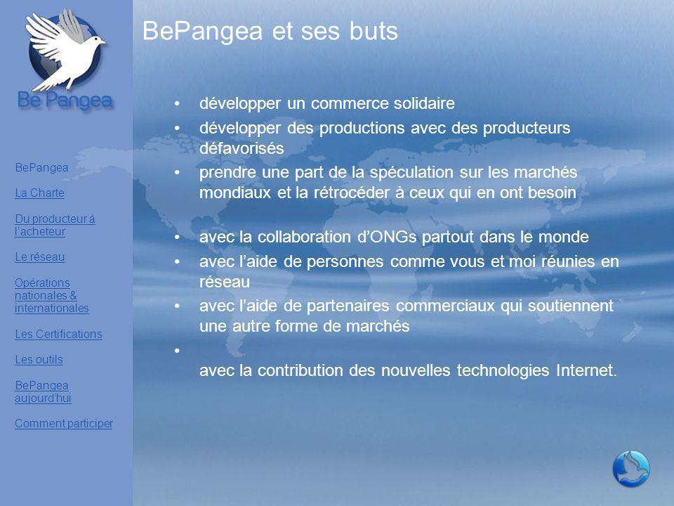 BePangea et ses buts développer un commerce solidaire développer des productions avec des producteurs défavorisés prendre une part de la spéculation s