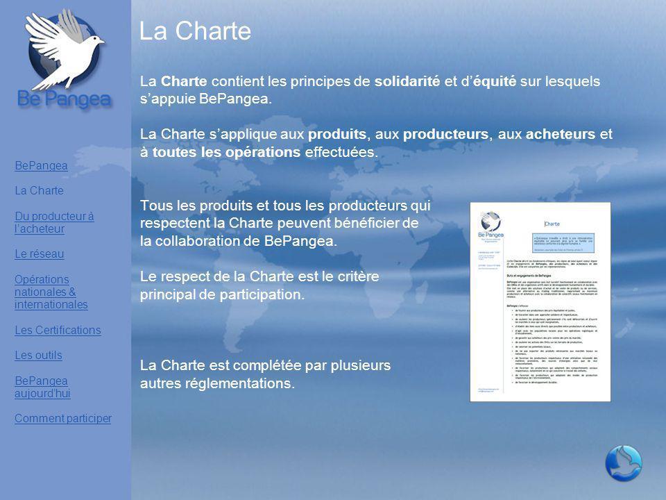 La Charte La Charte contient les principes de solidarité et d'équité sur lesquels s'appuie BePangea. La Charte s'applique aux produits, aux producteur