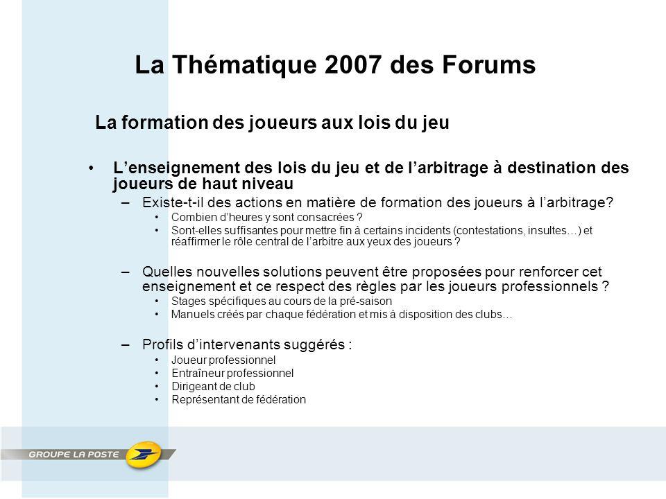 La Thématique 2007 des Forums La formation des joueurs aux lois du jeu L'enseignement des lois du jeu et de l'arbitrage à destination des joueurs de haut niveau –Existe-t-il des actions en matière de formation des joueurs à l'arbitrage.