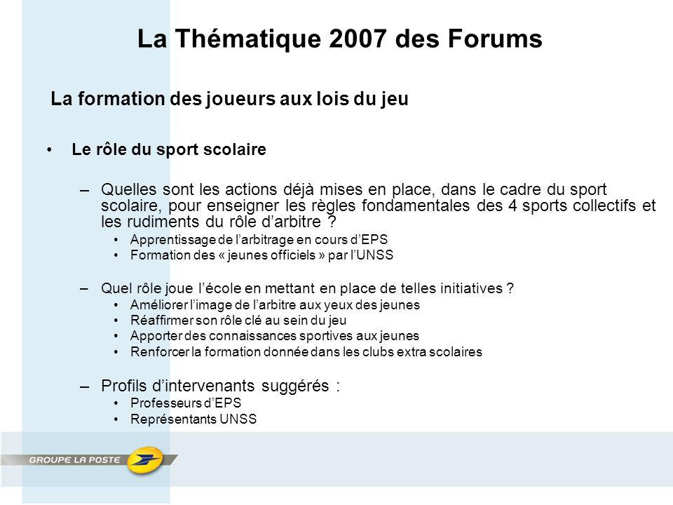 La Thématique 2007 des Forums La formation des joueurs aux lois du jeu Le rôle du sport scolaire –Quelles sont les actions déjà mises en place, dans le cadre du sport scolaire, pour enseigner les règles fondamentales des 4 sports collectifs et les rudiments du rôle d'arbitre .