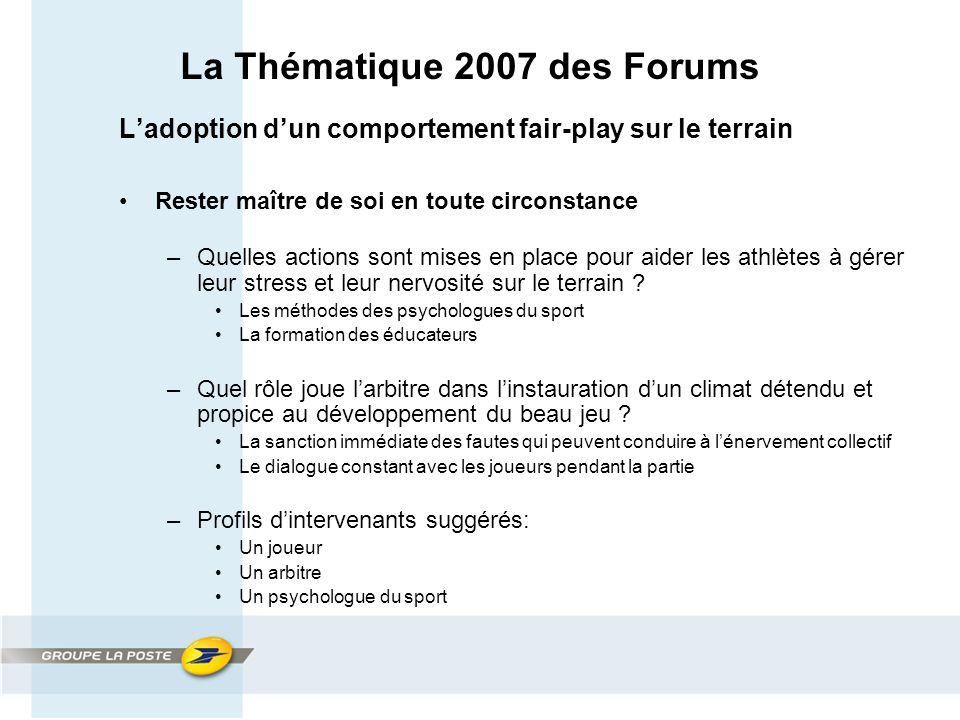 La Thématique 2007 des Forums L'adoption d'un comportement fair-play sur le terrain Rester maître de soi en toute circonstance –Quelles actions sont mises en place pour aider les athlètes à gérer leur stress et leur nervosité sur le terrain .