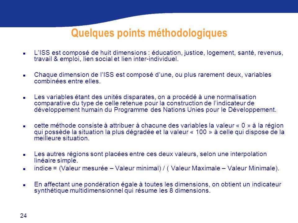24 Quelques points méthodologiques n L'ISS est composé de huit dimensions : éducation, justice, logement, santé, revenus, travail & emploi, lien social et lien inter-individuel.