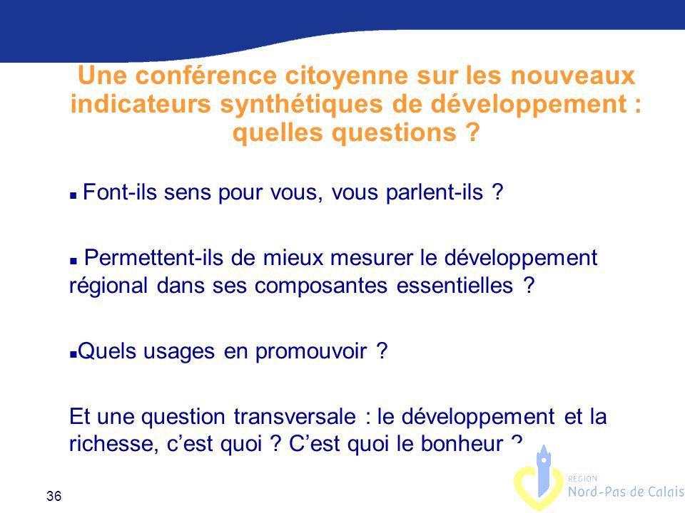 36 Une conférence citoyenne sur les nouveaux indicateurs synthétiques de développement : quelles questions .