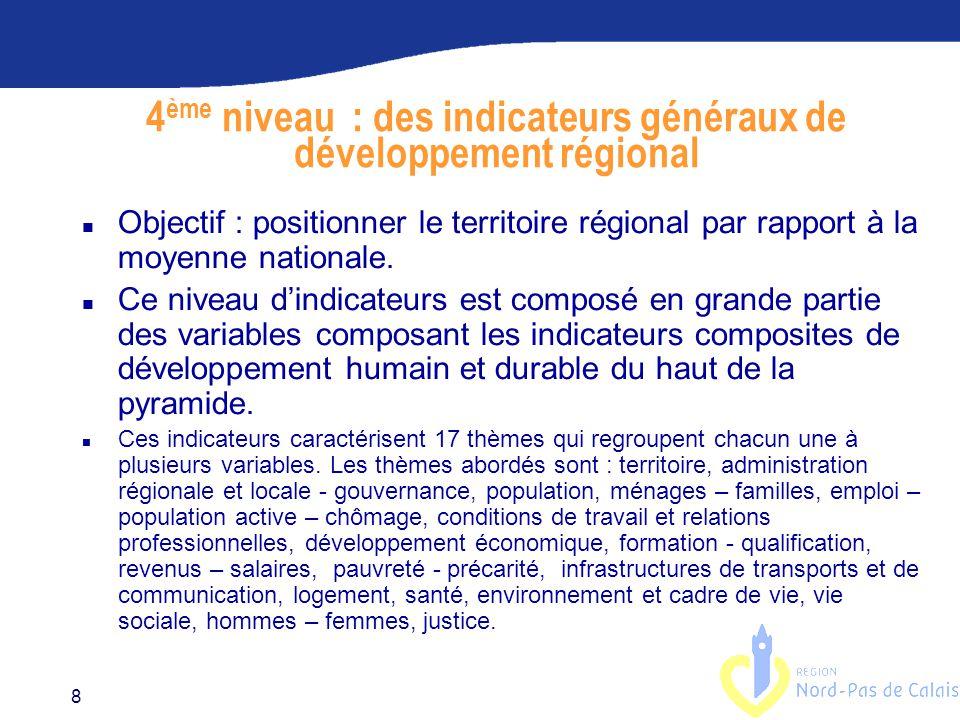 8 4 ème niveau : des indicateurs généraux de développement régional n Objectif : positionner le territoire régional par rapport à la moyenne nationale.