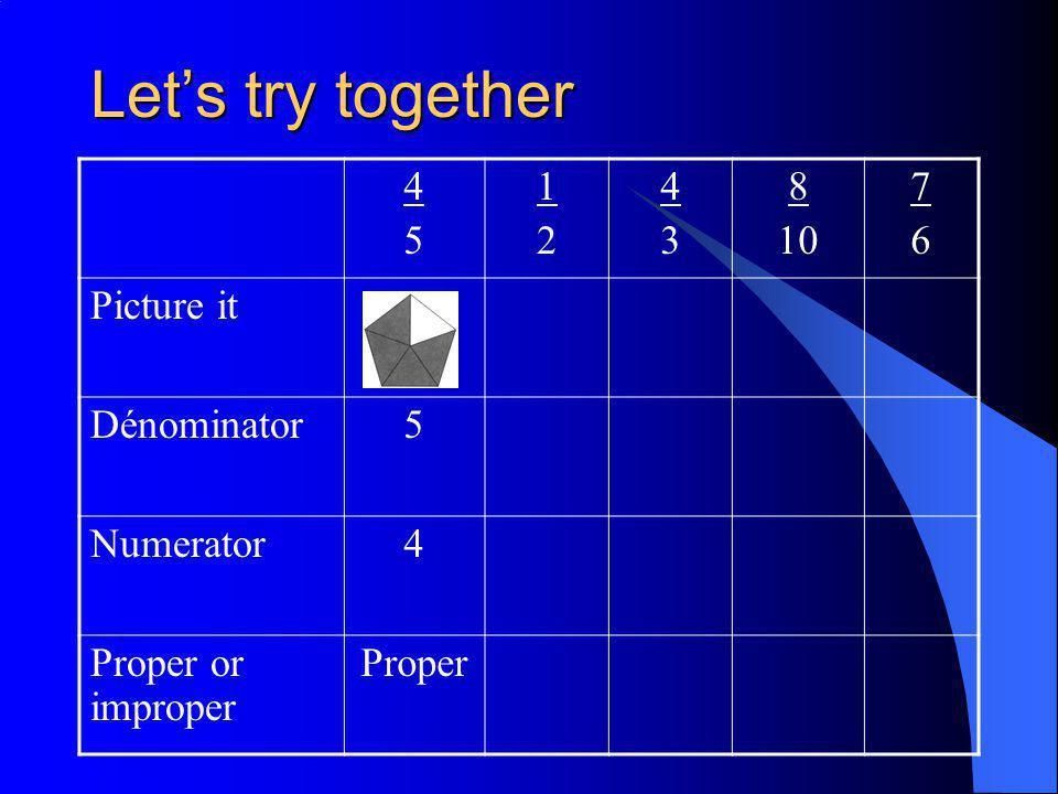 Let's try together 4545 1212 4343 8 10 7676 Picture it Dénominator5 Numerator4 Proper or improper Proper