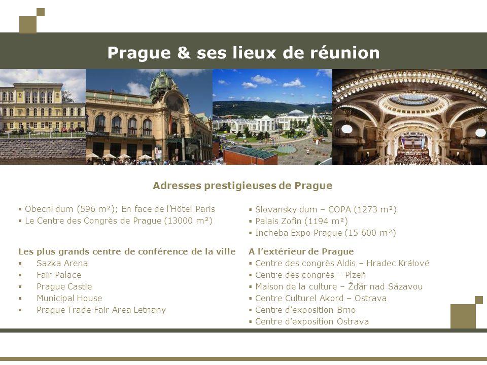 Prague & ses lieux de réunion Les plus grands centre de conférence de la ville  Sazka Arena  Fair Palace  Prague Castle  Municipal House  Prague