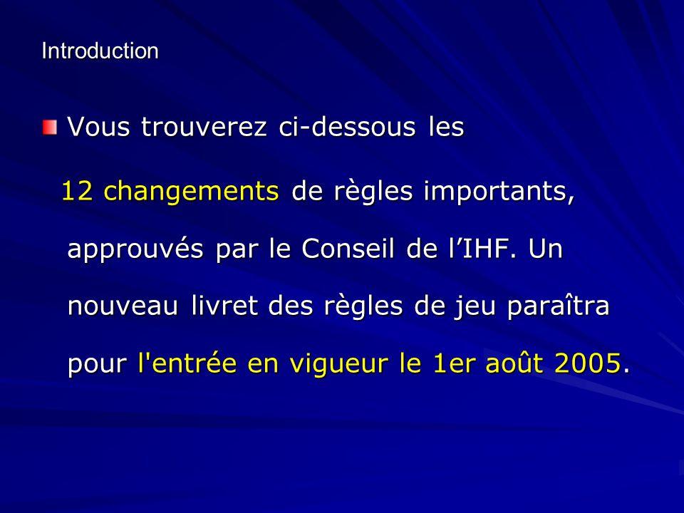 Introduction Vous trouverez ci-dessous les 12 changements de règles importants, approuvés par le Conseil de l'IHF. Un nouveau livret des règles de jeu