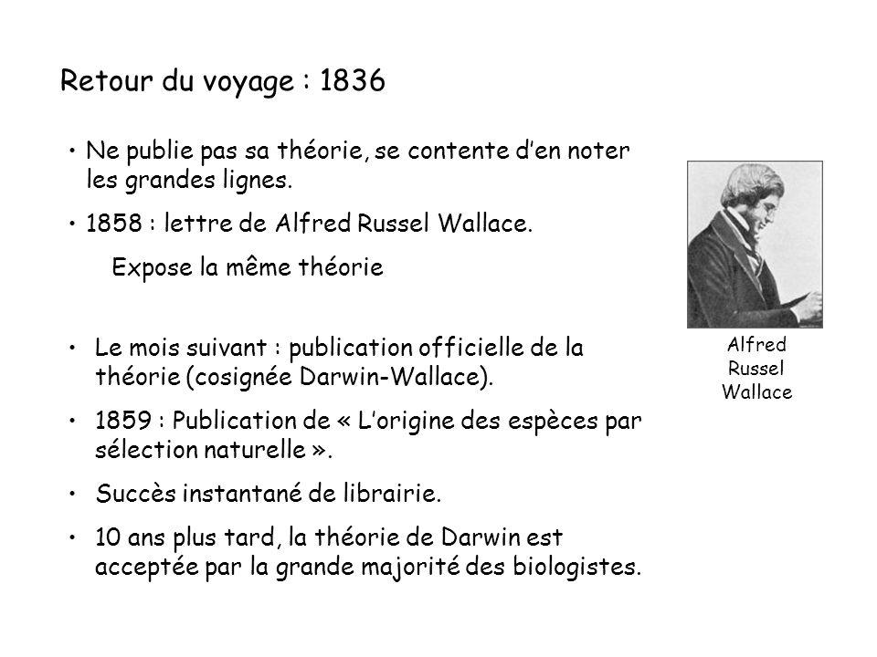 Retour du voyage : 1836 Ne publie pas sa théorie, se contente d'en noter les grandes lignes.