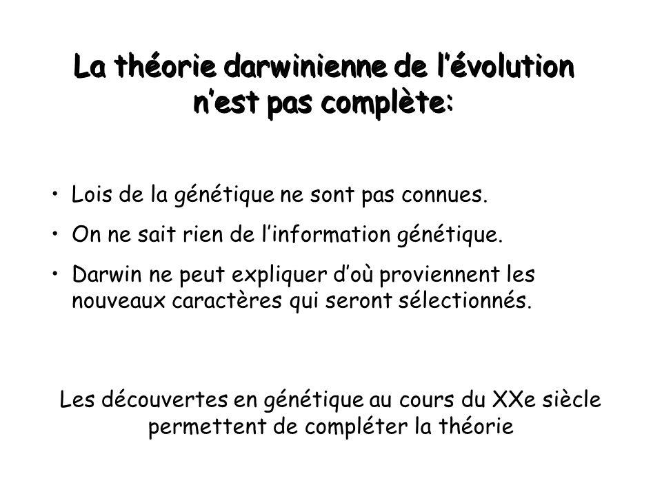 La théorie darwinienne de l'évolution n'est pas complète: Lois de la génétique ne sont pas connues.