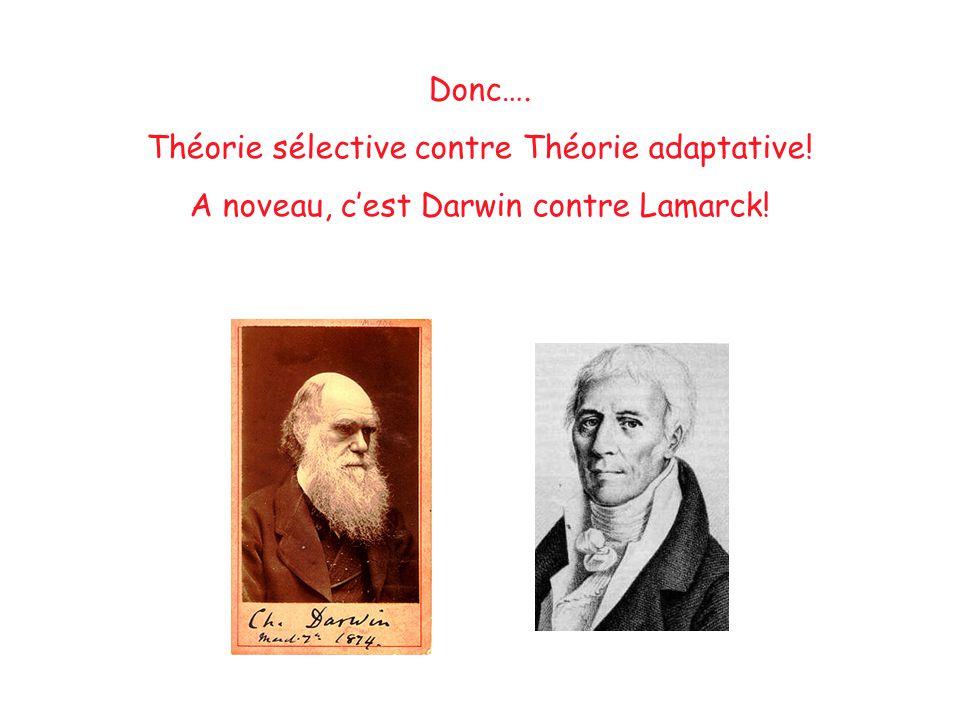 Donc…. Théorie sélective contre Théorie adaptative! A noveau, c'est Darwin contre Lamarck!