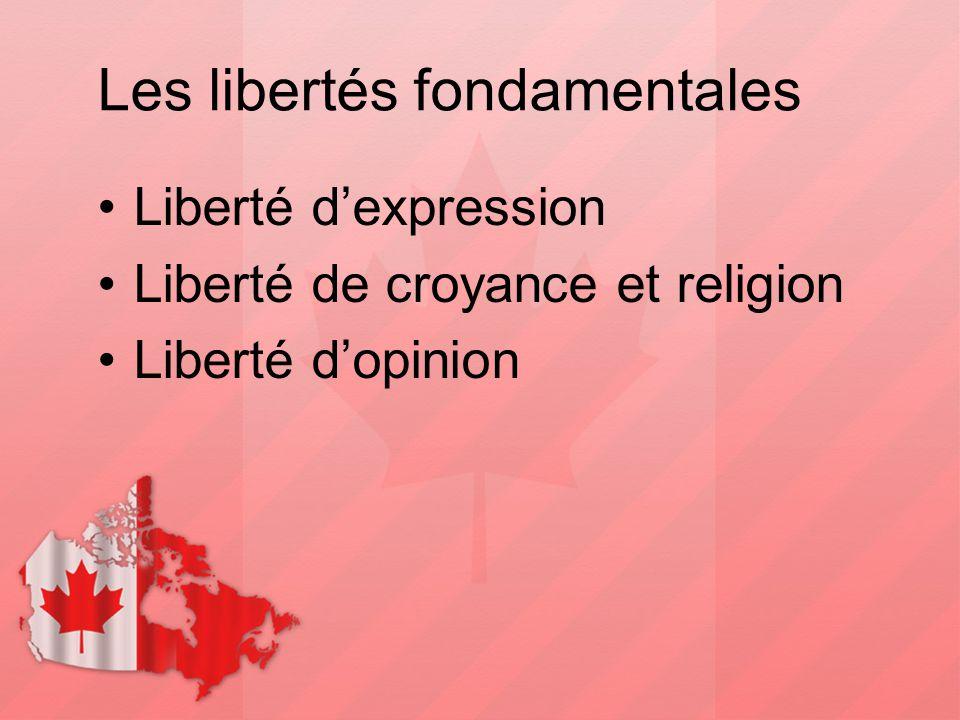 Les libertés fondamentales Liberté d'expression Liberté de croyance et religion Liberté d'opinion