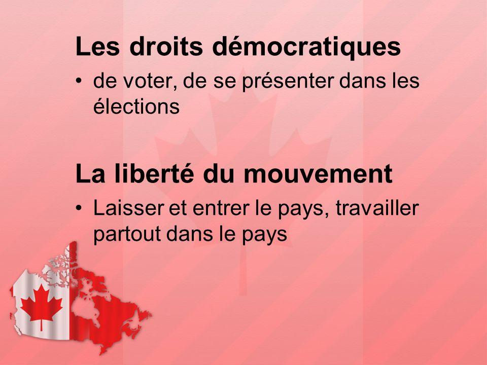 Les droits démocratiques de voter, de se présenter dans les élections La liberté du mouvement Laisser et entrer le pays, travailler partout dans le pa
