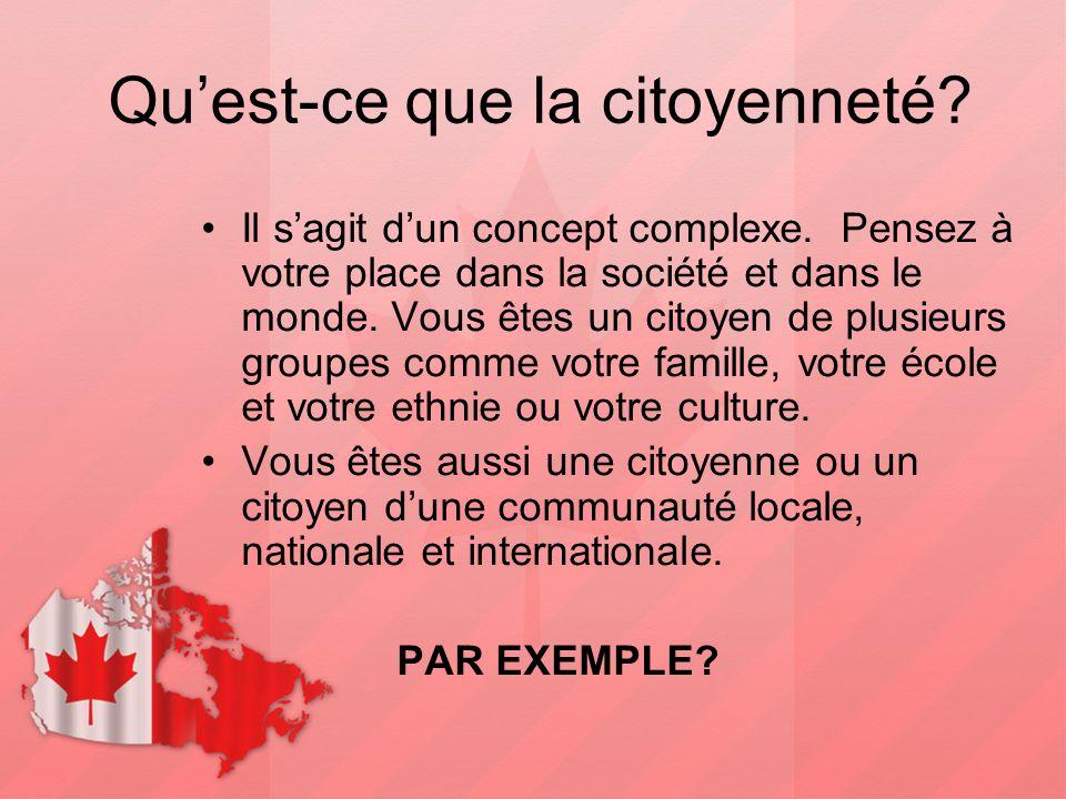 Qu'est-ce que la citoyenneté? Il s'agit d'un concept complexe. Pensez à votre place dans la société et dans le monde. Vous êtes un citoyen de plusieur