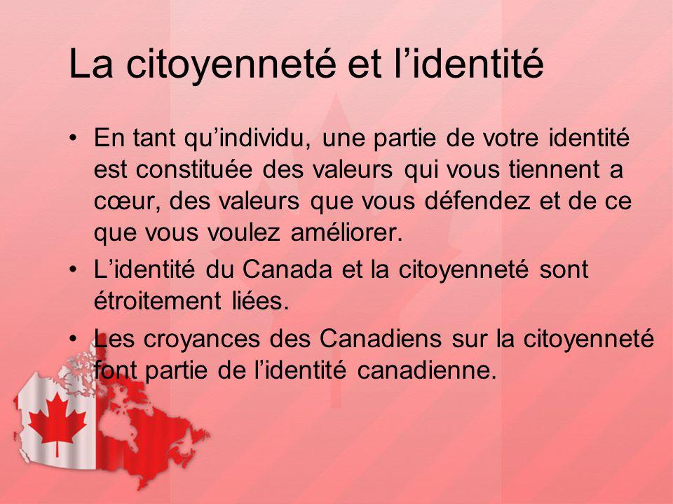 La citoyenneté et l'identité En tant qu'individu, une partie de votre identité est constituée des valeurs qui vous tiennent a cœur, des valeurs que vo