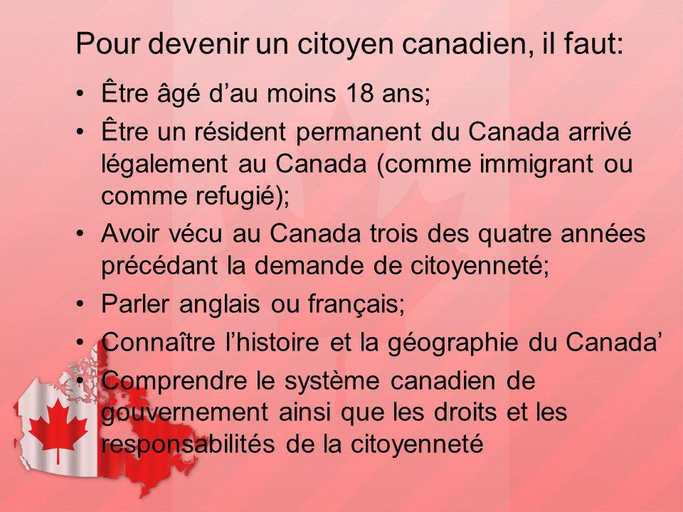 Pour devenir un citoyen canadien, il faut: Être âgé d'au moins 18 ans; Être un résident permanent du Canada arrivé légalement au Canada (comme immigra