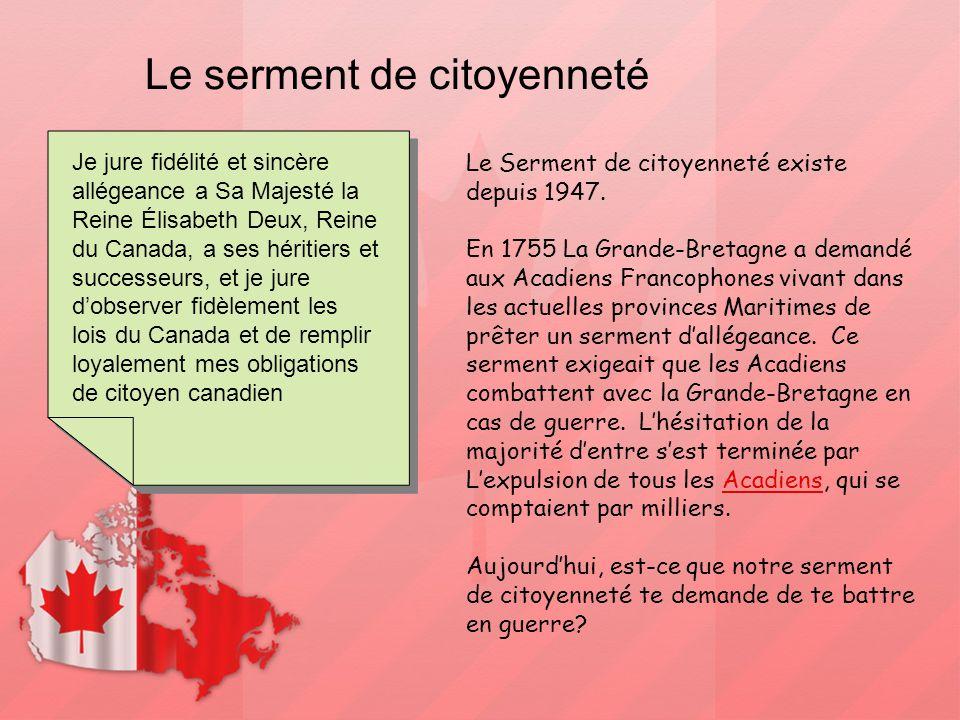 Le serment de citoyenneté Je jure fidélité et sincère allégeance a Sa Majesté la Reine Élisabeth Deux, Reine du Canada, a ses héritiers et successeurs