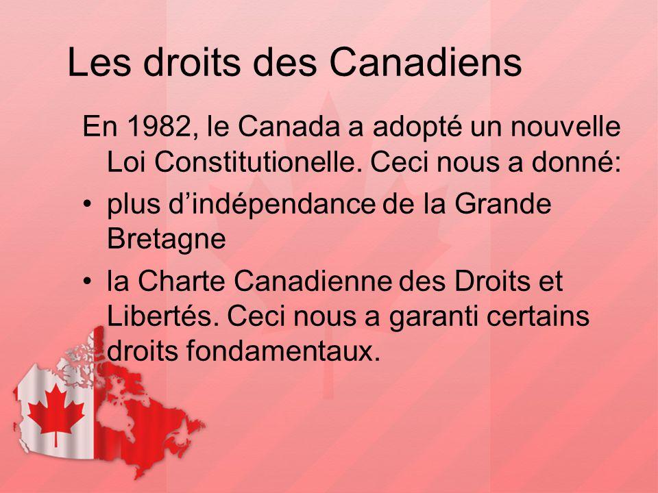Les droits des Canadiens En 1982, le Canada a adopté un nouvelle Loi Constitutionelle. Ceci nous a donné: plus d'indépendance de la Grande Bretagne la