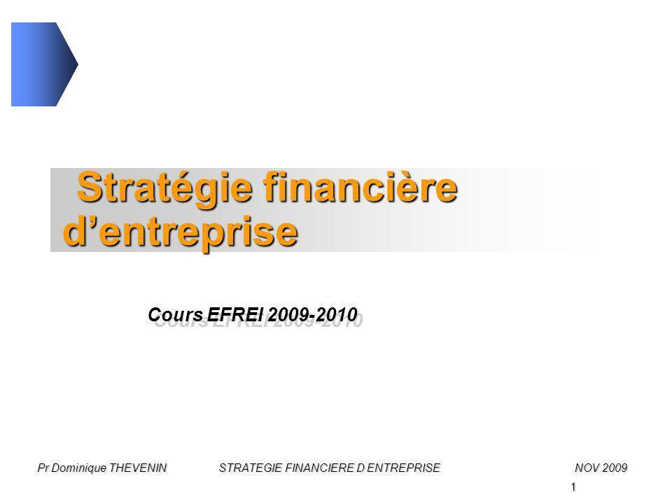 1 Pr Dominique THEVENIN STRATEGIE FINANCIERE D ENTREPRISENOV 2009 Stratégie financière d'entreprise Cours EFREI 2009-2010