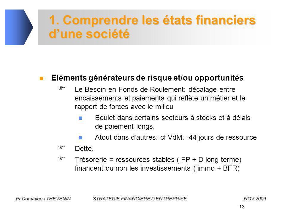 13 Pr Dominique THEVENIN STRATEGIE FINANCIERE D ENTREPRISENOV 2009 1. Comprendre les états financiers d'une société Eléments générateurs de risque et/