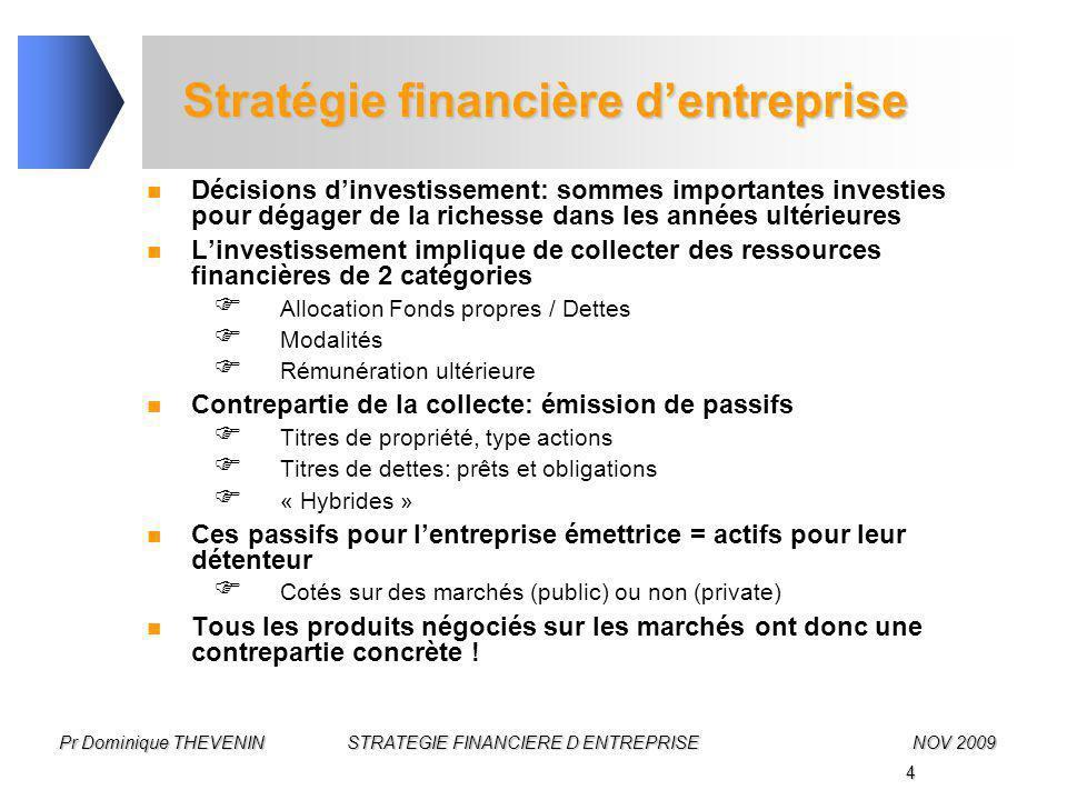 4 Pr Dominique THEVENIN STRATEGIE FINANCIERE D ENTREPRISENOV 2009 Stratégie financière d'entreprise Décisions d'investissement: sommes importantes inv