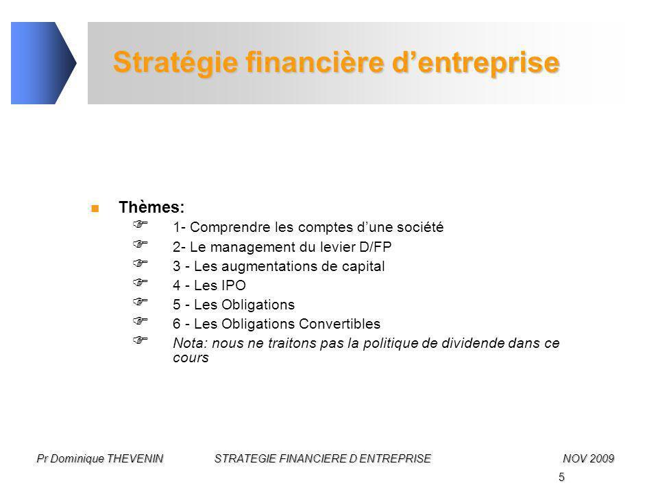 5 Pr Dominique THEVENIN STRATEGIE FINANCIERE D ENTREPRISENOV 2009 Stratégie financière d'entreprise Thèmes:  1- Comprendre les comptes d'une société