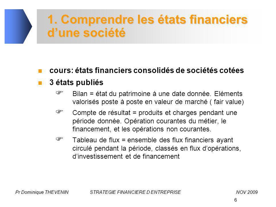 6 Pr Dominique THEVENIN STRATEGIE FINANCIERE D ENTREPRISENOV 2009 1. Comprendre les états financiers d'une société cours: états financiers consolidés