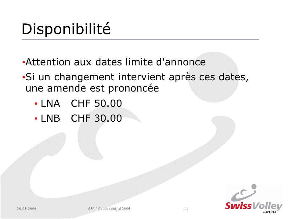 26.08.2006CFA / Cours central 200611 Disponibilité Attention aux dates limite d annonce Si un changement intervient après ces dates, une amende est prononcée LNACHF 50.00 LNBCHF 30.00