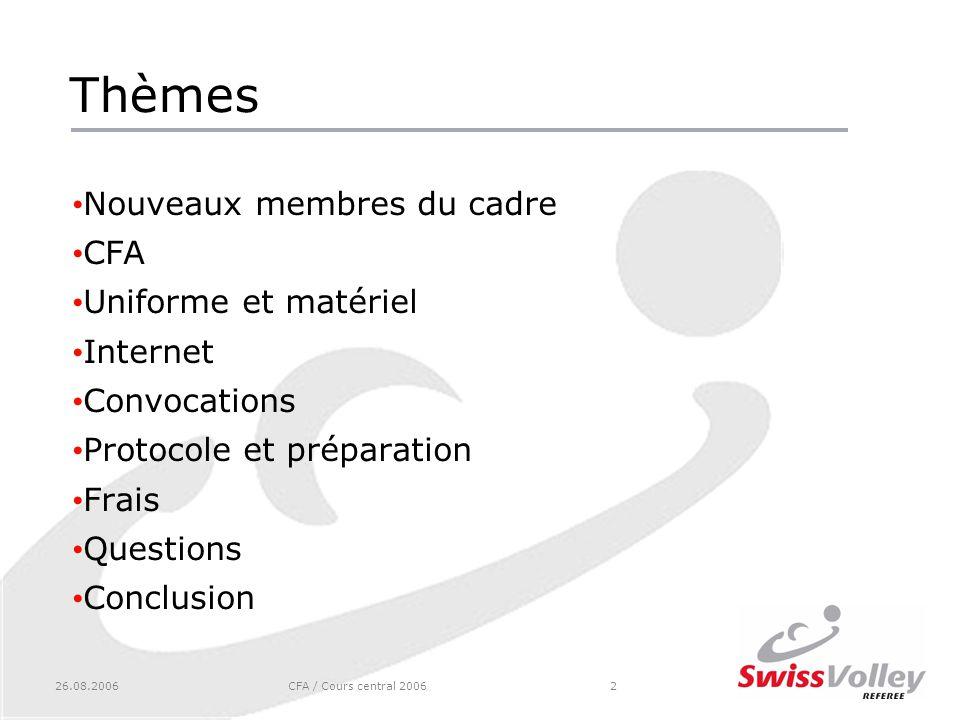 26.08.2006CFA / Cours central 20062 Thèmes Nouveaux membres du cadre CFA Uniforme et matériel Internet Convocations Protocole et préparation Frais Questions Conclusion