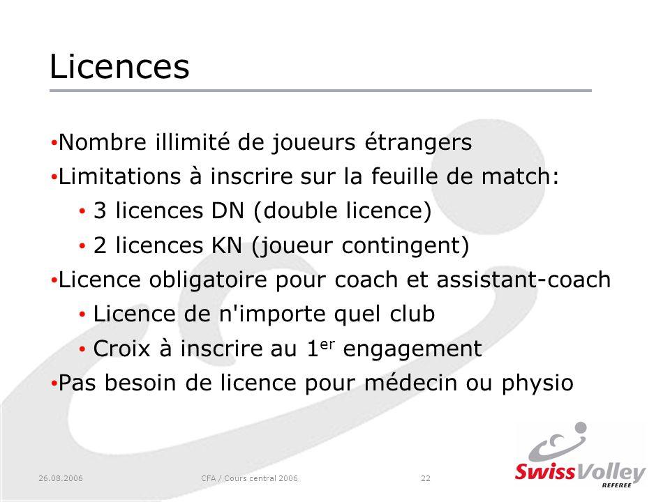 26.08.2006CFA / Cours central 200622 Licences Nombre illimité de joueurs étrangers Limitations à inscrire sur la feuille de match: 3 licences DN (doub