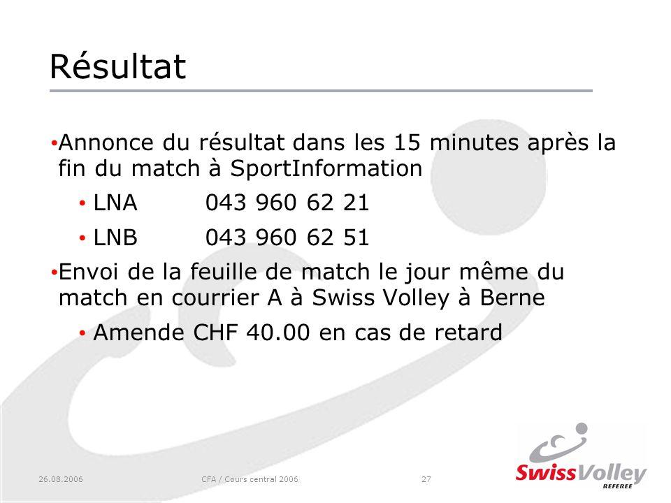 26.08.2006CFA / Cours central 200627 Résultat Annonce du résultat dans les 15 minutes après la fin du match à SportInformation LNA043 960 62 21 LNB043