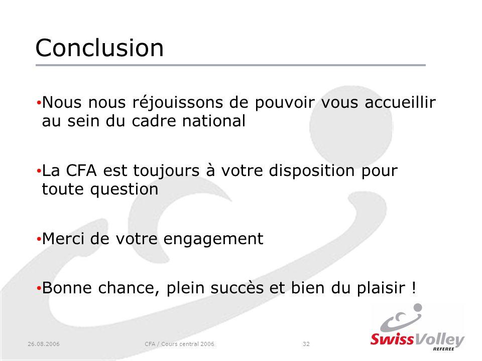 26.08.2006CFA / Cours central 200632 Conclusion Nous nous réjouissons de pouvoir vous accueillir au sein du cadre national La CFA est toujours à votre disposition pour toute question Merci de votre engagement Bonne chance, plein succès et bien du plaisir !