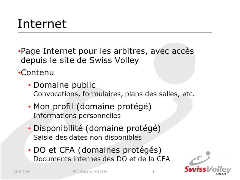 26.08.2006CFA / Cours central 20068 Internet Page Internet pour les arbitres, avec accès depuis le site de Swiss Volley Contenu Domaine public Convocations, formulaires, plans des salles, etc.
