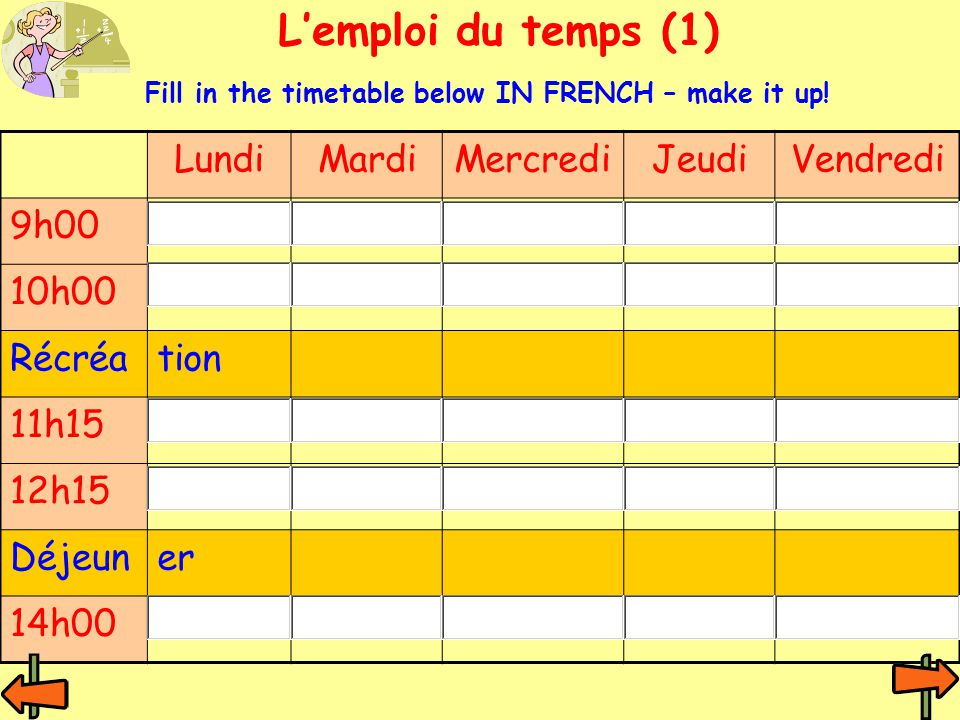 L'emploi du temps (1) LundiMardiMercrediJeudiVendredi 9h00 10h00 Récréation 11h15 12h15 Déjeuner 14h00 Fill in the timetable below IN FRENCH – make it up!