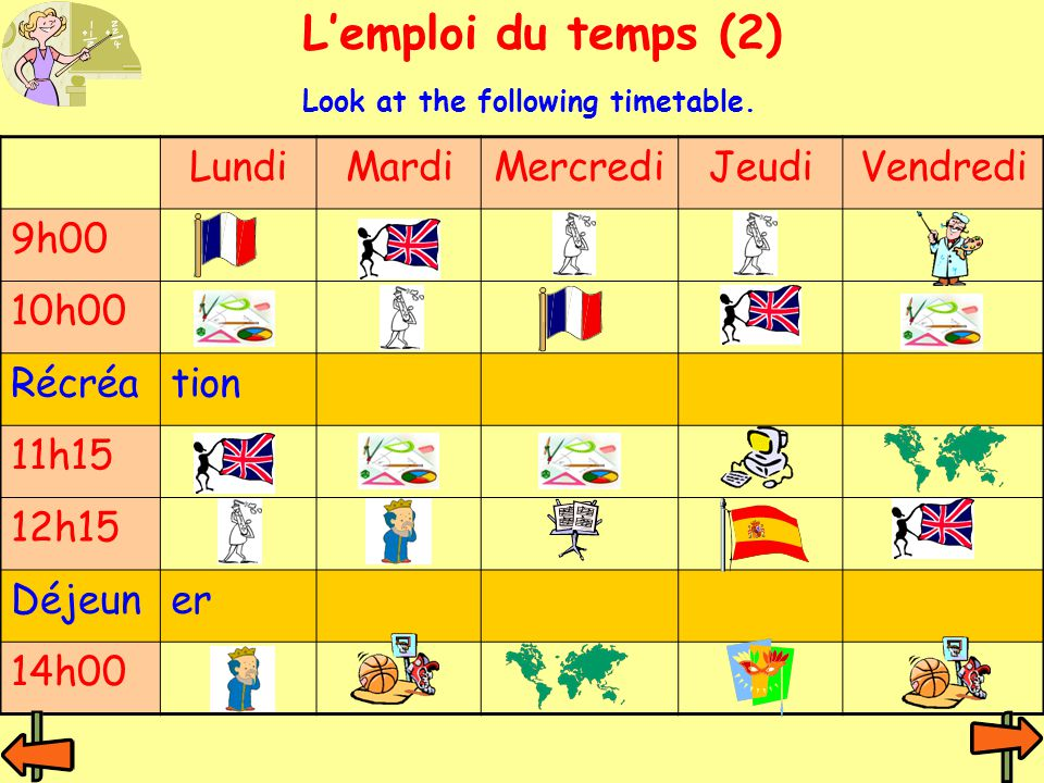 LundiMardiMercrediJeudiVendredi 9h00 10h00 Récréation 11h15 12h15 Déjeuner 14h00 L'emploi du temps (2) Look at the following timetable.