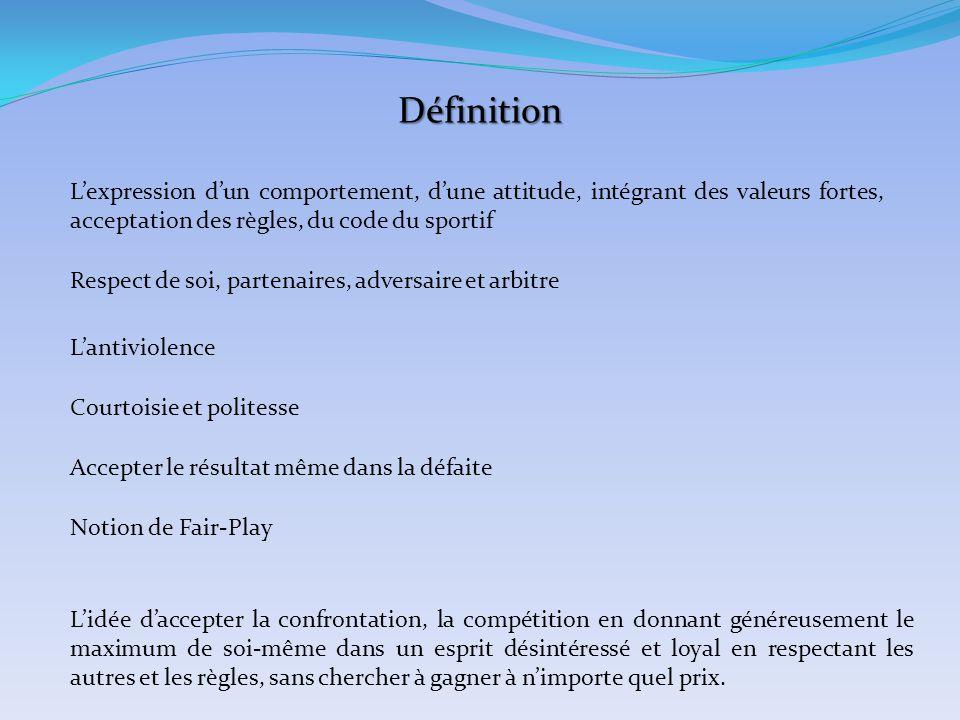 Définition L'expression d'un comportement, d'une attitude, intégrant des valeurs fortes, acceptation des règles, du code du sportif Respect de soi, pa