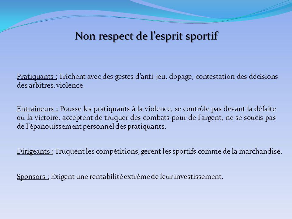 Non respect de l'esprit sportif Pratiquants : Trichent avec des gestes d'anti-jeu, dopage, contestation des décisions des arbitres, violence. Entraîne