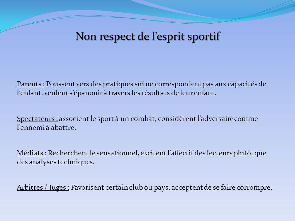Que motive le non respect de l'esprit sportif .